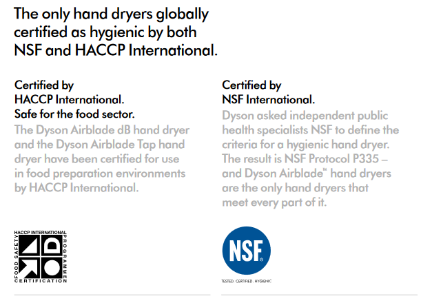 Dyson-Airblade-Hand-Dryers-Hygiene-Certifications-NSF-HACCP-International
